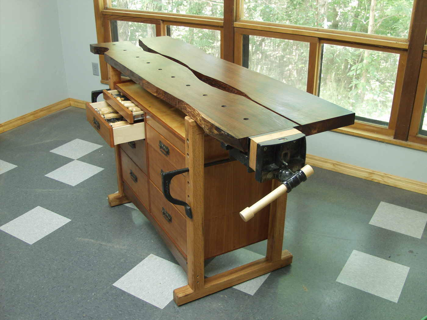 Walnut and cherry workbench