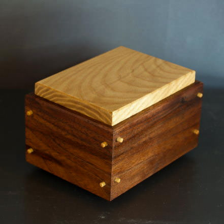 Doweled corner walnut and ash box