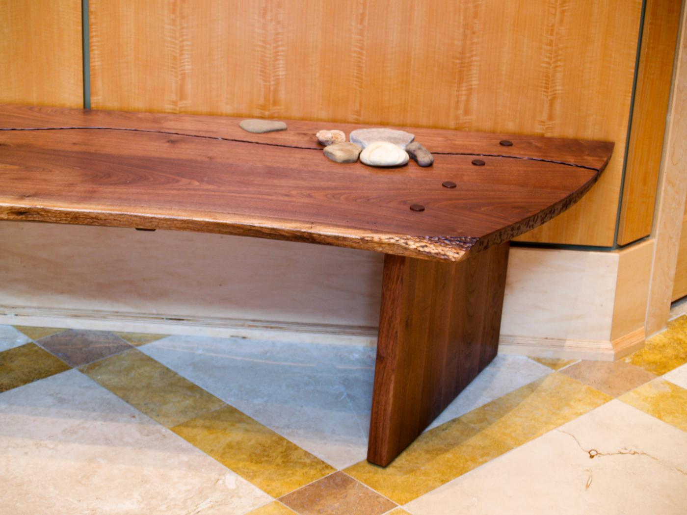Walnut Bench detail view